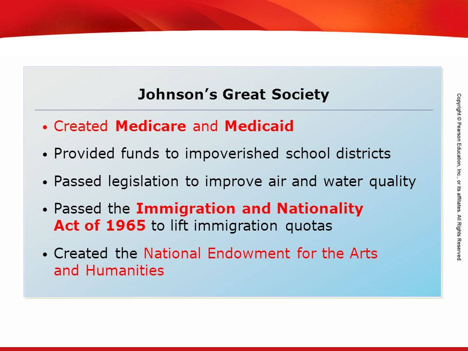 TEKS 8C: Calculate percent composition and empirical and molecular formulas. Johnson's Great Society Created Medicare and Medicaid Provided funds to i