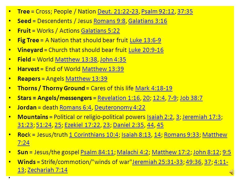 Tree = Cross; People / Nation Deut.21:22-23, Psalm 92:12, 37:35Deut.