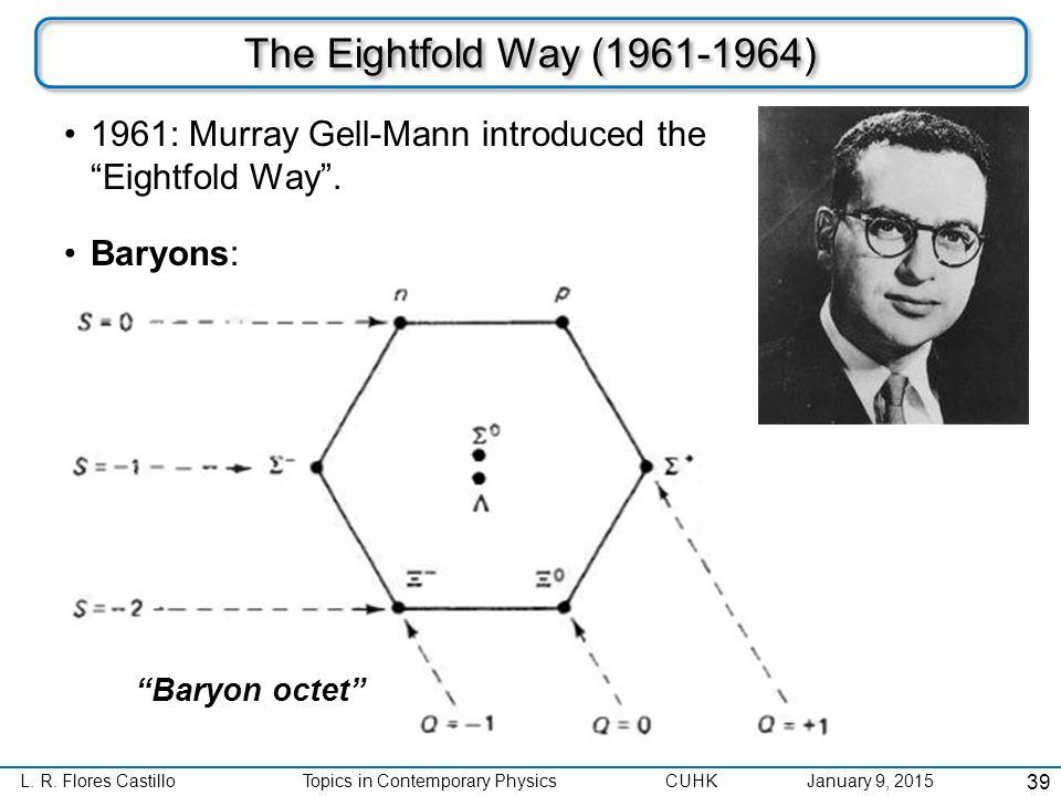 "L. R. Flores CastilloTopics in Contemporary Physics CUHK January 9, 2015 The Eightfold Way (1961-1964) 1961: Murray Gell-Mann introduced the ""Eightfol"