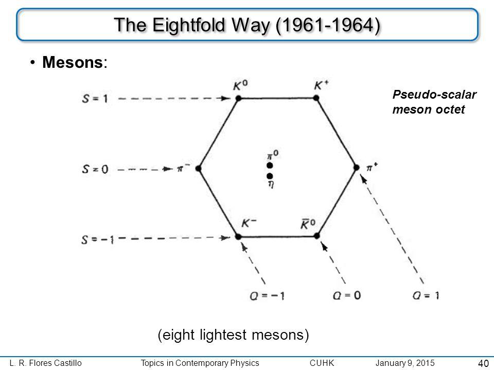 L. R. Flores CastilloTopics in Contemporary Physics CUHK January 9, 2015 The Eightfold Way (1961-1964) Mesons: 40 Pseudo-scalar meson octet (eight lig