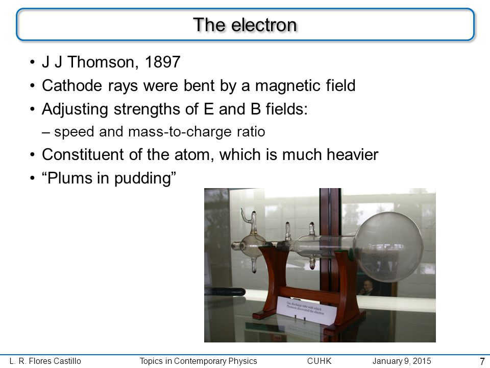 L. R. Flores CastilloTopics in Contemporary Physics CUHK January 9, 2015 The electron 8