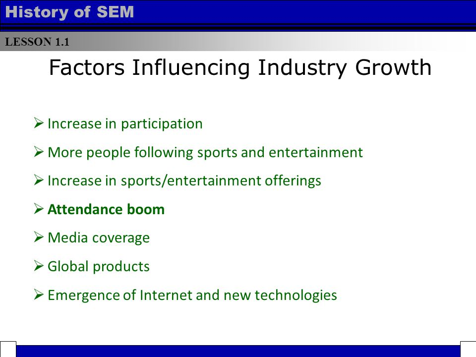 LESSON 1.1 History of SEM  Increase in participation  More people following sports and entertainment  Increase in sports/entertainment offerings  Attendance boom  Media coverage  Global products  Emergence of Internet and new technologies Factors Influencing Industry Growth