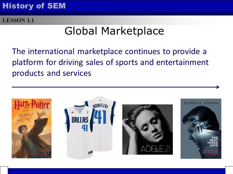 LESSON 1.1 History of SEM Global Marketplace The international marketplace continues to provide a platform for driving sales of sports and entertainment products and services