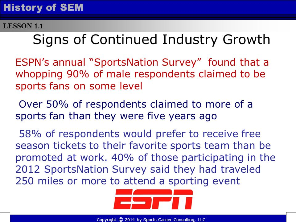 LESSON 1.1 History of SEM Signs of Continued Industry Growth Over 50% of respondents claimed to more of a sports fan than they were five years ago ESPN's annual SportsNation Survey found that a whopping 90% of male respondents claimed to be sports fans on some level Copyright © 2014 by Sports Career Consulting, LLC 58% of respondents would prefer to receive free season tickets to their favorite sports team than be promoted at work.