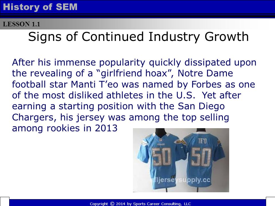 LESSON 1.1 History of SEM Signs of Continued Industry Growth After his immense popularity quickly dissipated upon the revealing of a girlfriend hoax , Notre Dame football star Manti T'eo was named by Forbes as one of the most disliked athletes in the U.S.