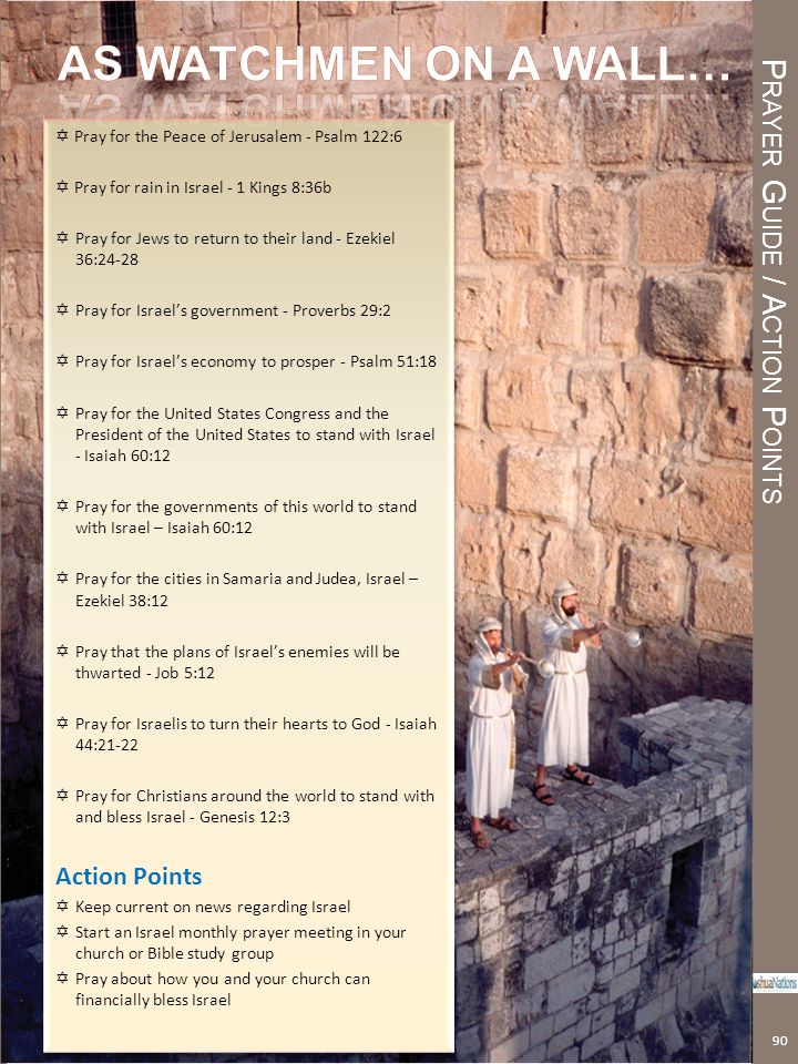P RAYER G UIDE / A CTION P OINTS Prayer Guide / Action Points 90  Pray for the Peace of Jerusalem - Psalm 122:6  Pray for rain in Israel - 1 Kings 8