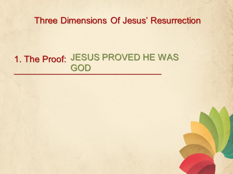 Three Dimensions Of Jesus' Resurrection 1.