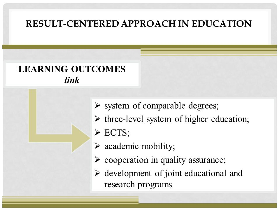 RESULT-CENTERED APPROACH IN EDUCATION  system of comparable degrees;  three-level system of higher education;  ECTS;  academic mobility;  cooperation in quality assurance;  development of joint educational and research programs LEARNING OUTCOMES link
