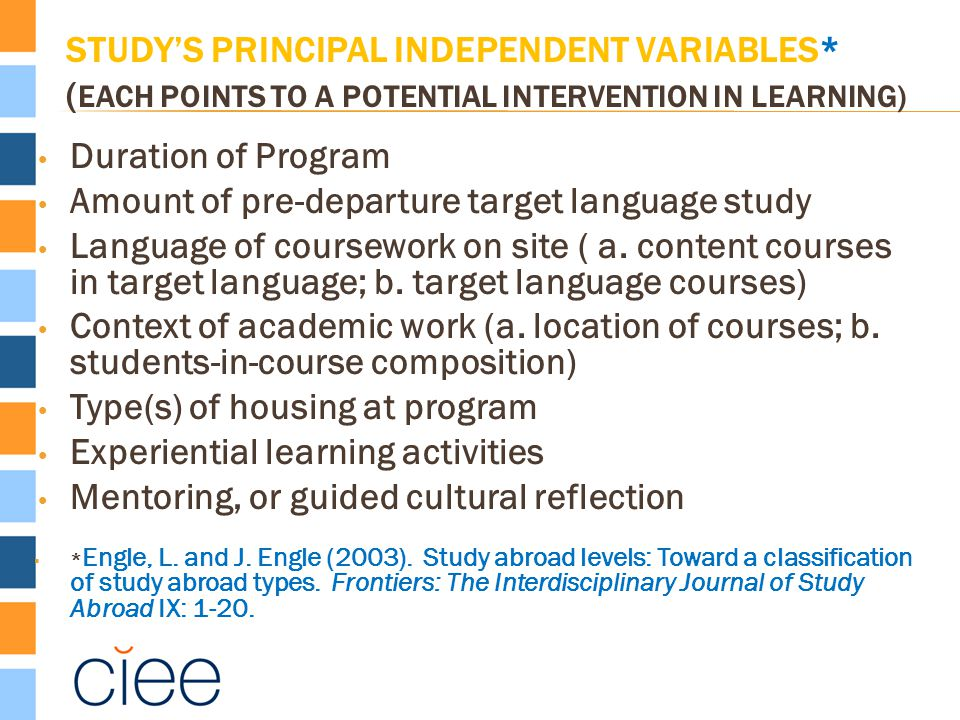 STUDY'S PRINCIPAL INDEPENDENT VARIABLES* ( EACH POINTS TO A POTENTIAL INTERVENTION IN LEARNING) Duration of Program Amount of pre-departure target language study Language of coursework on site ( a.