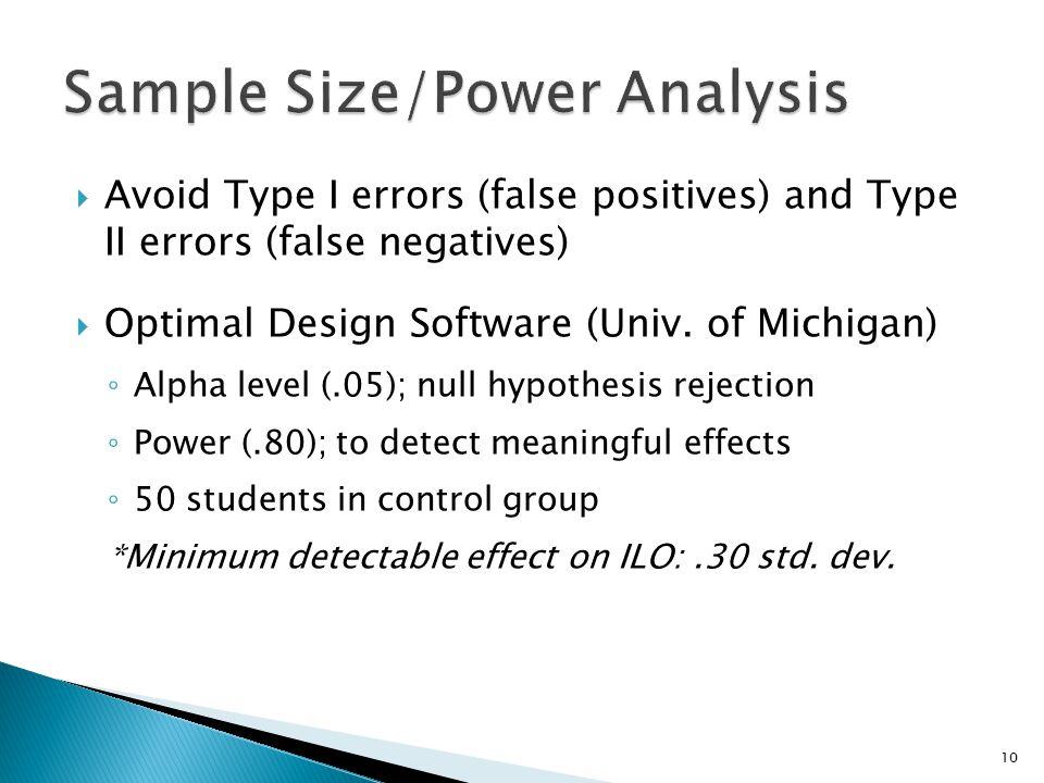  Avoid Type I errors (false positives) and Type II errors (false negatives)  Optimal Design Software (Univ.