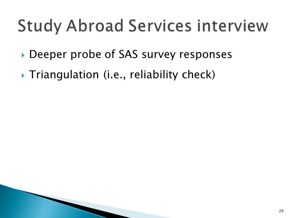  Deeper probe of SAS survey responses  Triangulation (i.e., reliability check) 26