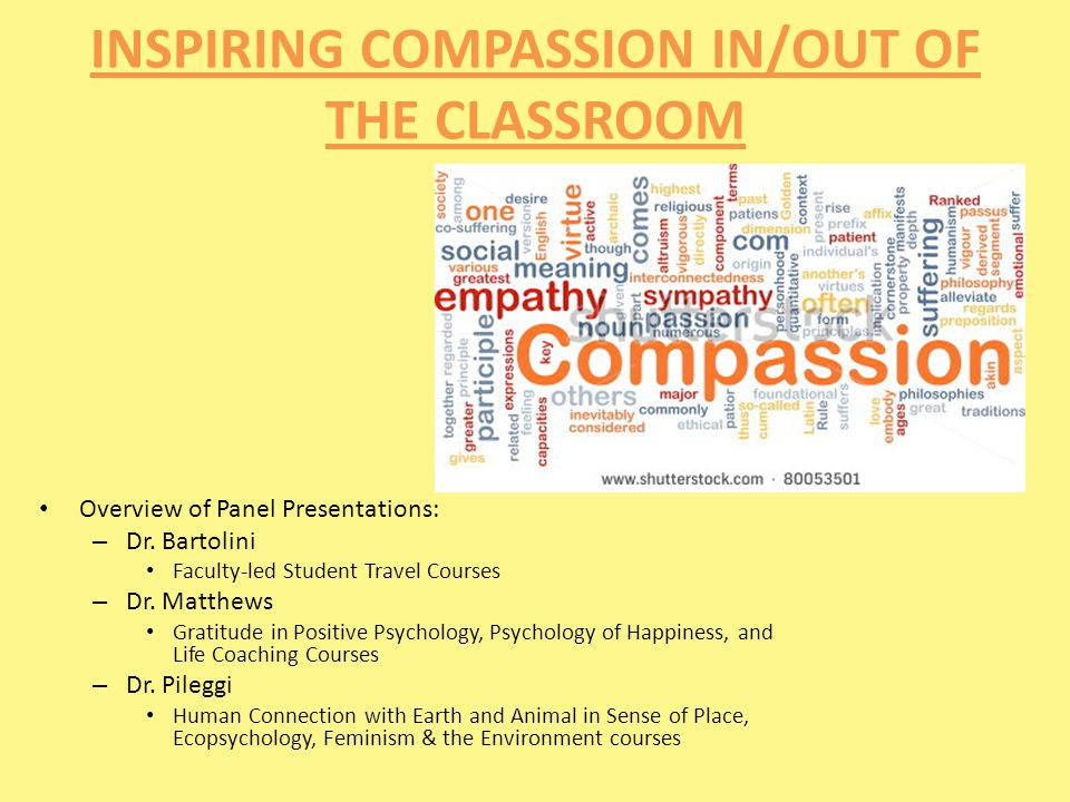 INSPIRING COMPASSION IN/OUT OF THE CLASSROOM Overview of Panel Presentations: – Dr.