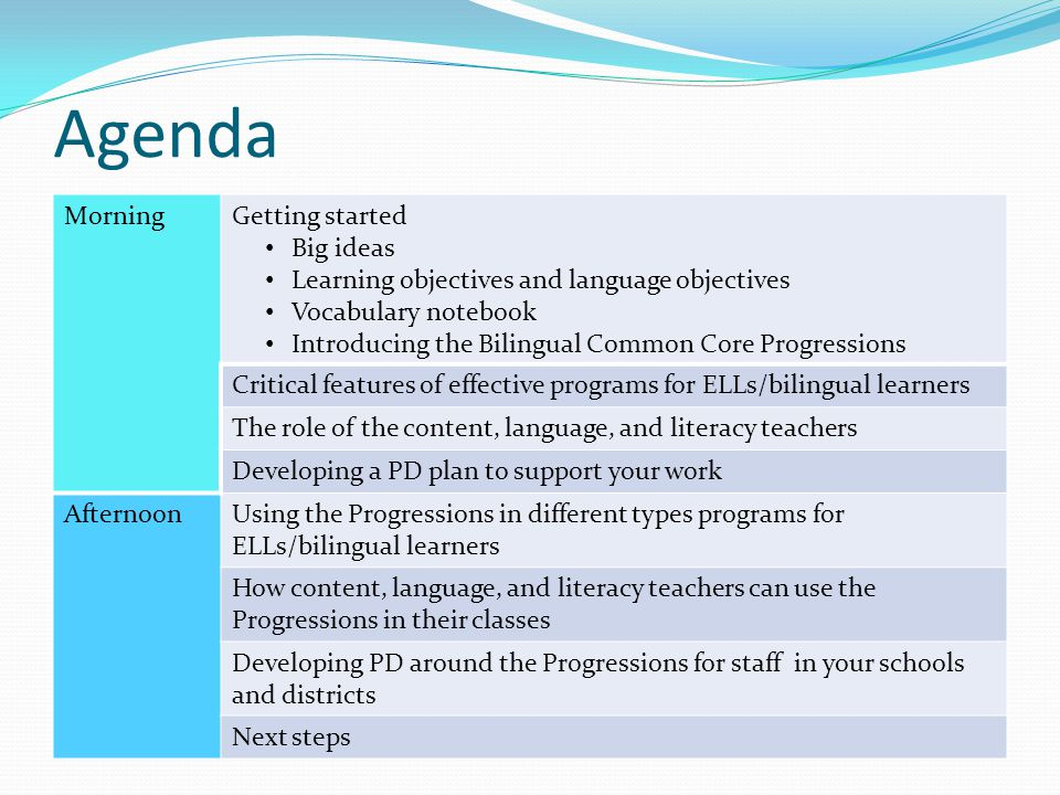 Language Objectives Participants will be able to… Use content-obligatory and content-compatible vocabulary orally and in writing Conversational language, academic language Additive bilingualism, subtractive bilingualism ELL, emergent bilingual, bilingual learner Sheltering instruction, differentiating instruction and assessment New Language Arts Progressions Home Language Arts Progressions Student performance indicators Use oral and written language to describe, identify, explain NOTE: Language objectives are differentiated according to level of new and home language development and other background factors