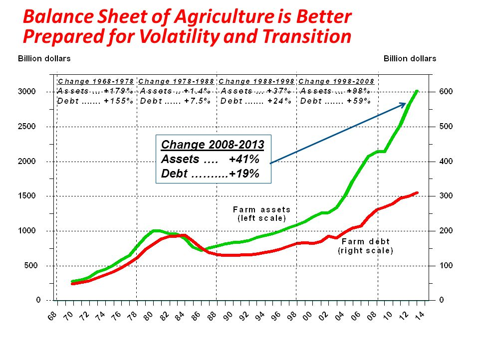 Balance Sheet of Agriculture is Better Prepared for Volatility and Transition Change 2008-2013 Assets ….