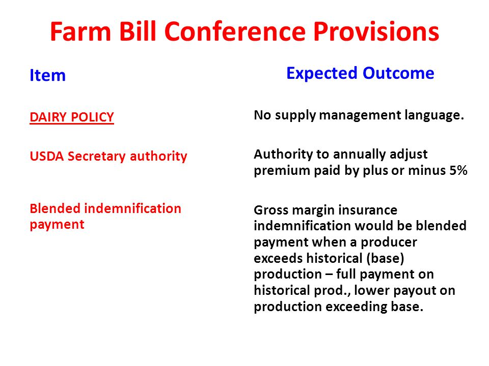 Farm Bill Conference Provisions Item DAIRY POLICY USDA Secretary authority Blended indemnification payment Expected Outcome No supply management language.