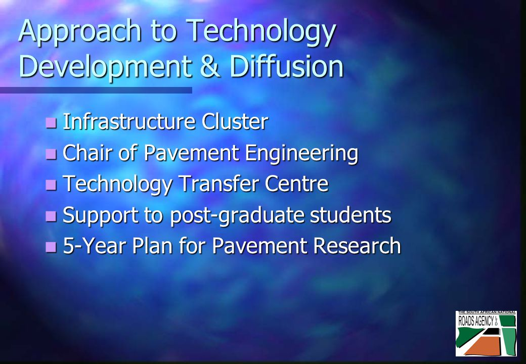 Approach to Technology Development & Diffusion Infrastructure Cluster Infrastructure Cluster Chair of Pavement Engineering Chair of Pavement Engineering Technology Transfer Centre Technology Transfer Centre Support to post-graduate students Support to post-graduate students 5-Year Plan for Pavement Research 5-Year Plan for Pavement Research