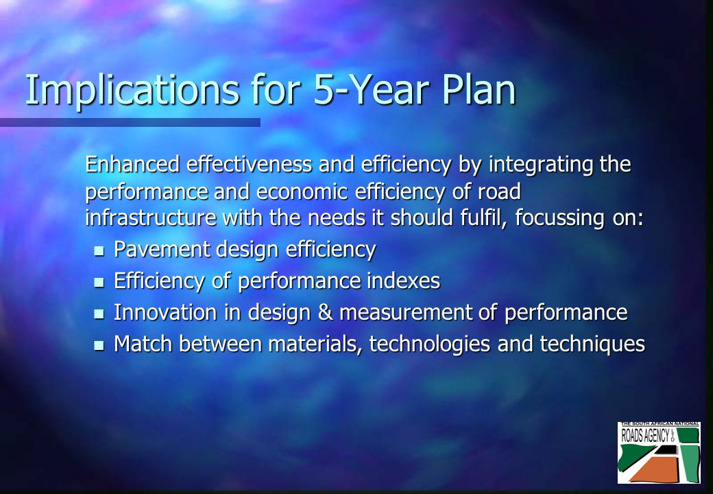 Implications for 5-Year Plan Enhanced effectiveness and efficiency by integrating the performance and economic efficiency of road infrastructure with the needs it should fulfil, focussing on: Pavement design efficiency Pavement design efficiency Efficiency of performance indexes Efficiency of performance indexes Innovation in design & measurement of performance Innovation in design & measurement of performance Match between materials, technologies and techniques Match between materials, technologies and techniques