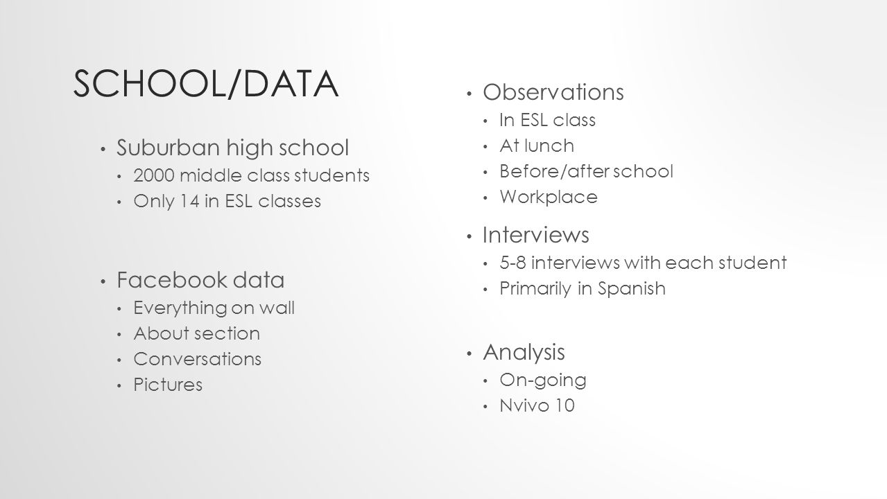SCHOOL/DATA Suburban high school 2000 middle class students Only 14 in ESL classes Facebook data Everything on wall About section Conversations Pictures Observations In ESL class At lunch Before/after school Workplace Interviews 5-8 interviews with each student Primarily in Spanish Analysis On-going Nvivo 10
