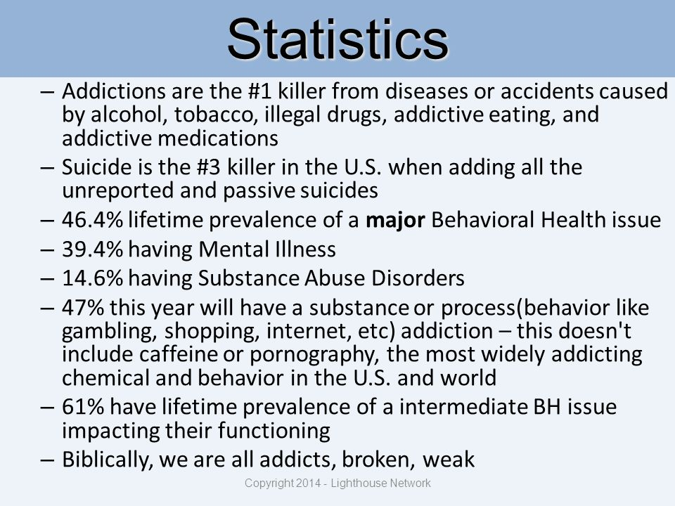 Statistics – Addictions are the #1 killer from diseases or accidents caused by alcohol, tobacco, illegal drugs, addictive eating, and addictive medica