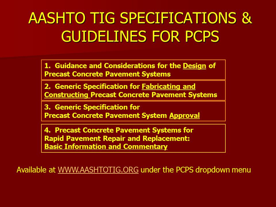 AASHTO TIG SPECIFICATIONS & GUIDELINES FOR PCPS 1.