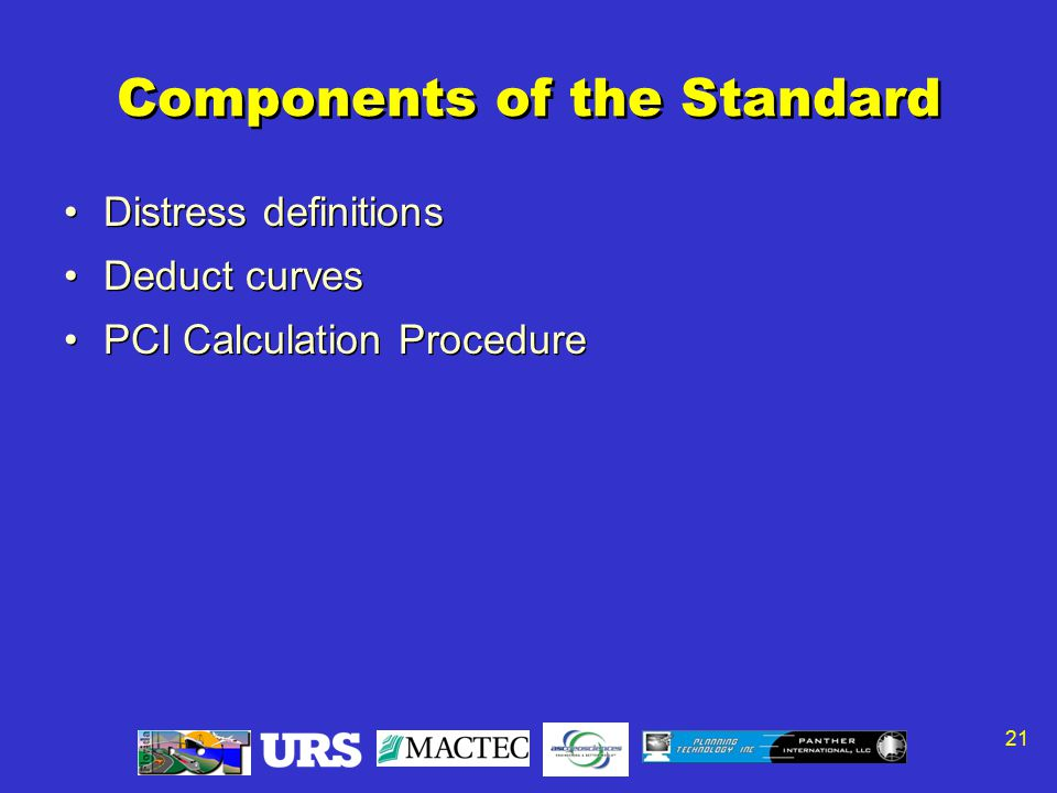 21 Components of the Standard Distress definitions Deduct curves PCI Calculation Procedure Distress definitions Deduct curves PCI Calculation Procedure