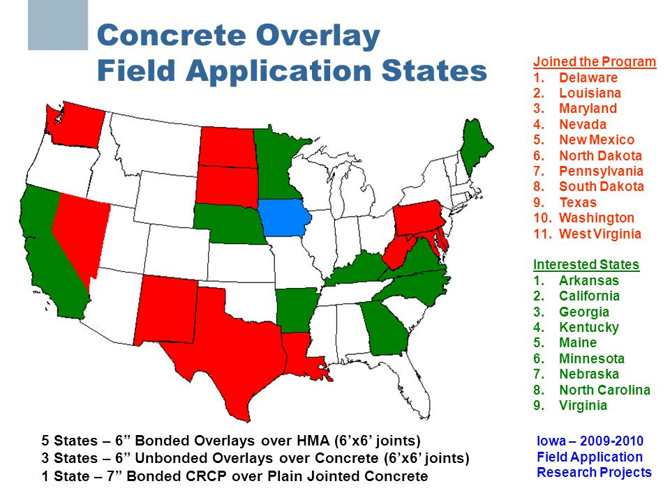 20 Concrete Overlay Field Application States Joined the Program 1.Delaware 2.Louisiana 3.Maryland 4.Nevada 5.New Mexico 6.North Dakota 7.Pennsylvania 8.South Dakota 9.Texas 10.Washington 11.West Virginia Interested States 1.Arkansas 2.California 3.Georgia 4.Kentucky 5.Maine 6.Minnesota 7.Nebraska 8.North Carolina 9.Virginia Iowa – 2009-2010 Field Application Research Projects 5 States – 6 Bonded Overlays over HMA (6'x6' joints) 3 States – 6 Unbonded Overlays over Concrete (6'x6' joints) 1 State – 7 Bonded CRCP over Plain Jointed Concrete