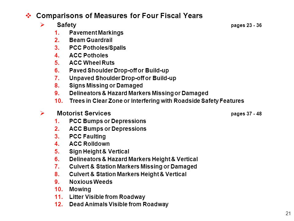 21  Comparisons of Measures for Four Fiscal Years  Safety pages 23 - 36 1.Pavement Markings 2.Beam Guardrail 3.PCC Potholes/Spalls 4.ACC Potholes 5.ACC Wheel Ruts 6.Paved Shoulder Drop-off or Build-up 7.Unpaved Shoulder Drop-off or Build-up 8.Signs Missing or Damaged 9.Delineators & Hazard Markers Missing or Damaged 10.Trees in Clear Zone or Interfering with Roadside Safety Features  Motorist Services pages 37 - 48 1.PCC Bumps or Depressions 2.ACC Bumps or Depressions 3.PCC Faulting 4.ACC Rolldown 5.Sign Height & Vertical 6.Delineators & Hazard Markers Height & Vertical 7.Culvert & Station Markers Missing or Damaged 8.Culvert & Station Markers Height & Vertical 9.Noxious Weeds 10.Mowing 11.Litter Visible from Roadway 12.Dead Animals Visible from Roadway