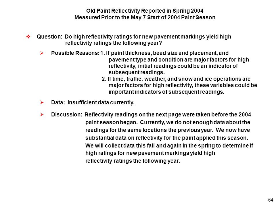 64 Old Paint Reflectivity Reported in Spring 2004 Measured Prior to the May 7 Start of 2004 Paint Season  Question: Do high reflectivity ratings for new pavement markings yield high reflectivity ratings the following year.