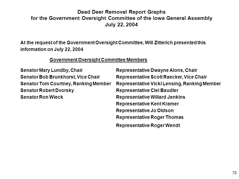 78 Dead Deer Removal Report Graphs for the Government Oversight Committee of the Iowa General Assembly July 22, 2004 At the request of the Government Oversight Committee, Will Zitterich presented this information on July 22, 2004 Government Oversight Committee Members Senator Mary Lundby, Chair Representative Dwayne Alons, Chair Senator Bob Brunkhorst, Vice Chair Representative Scott Raecker, Vice Chair Senator Tom Courtney, Ranking MemberRepresentative Vicki Lensing, Ranking Member Senator Robert Dvorsky Representative Clel Baudler Senator Ron Wieck Representative Willard Jenkins Representative Kent Kramer Representative Jo Oldson Representative Roger Thomas Representative Roger Wendt