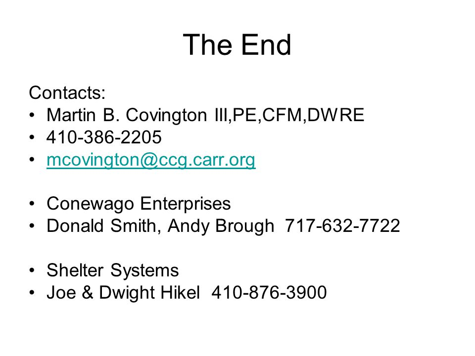 The End Contacts: Martin B.