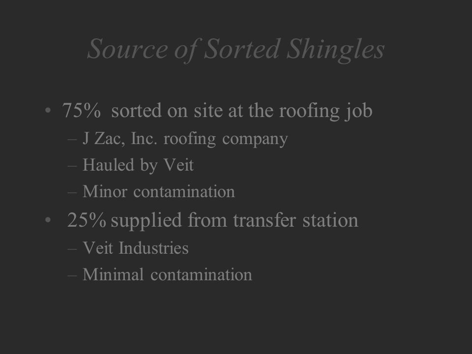 Source of Sorted Shingles 75% sorted on site at the roofing job –J Zac, Inc.