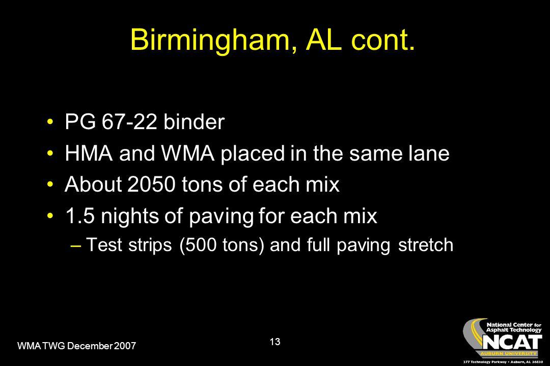 WMA TWG December 2007 13 Birmingham, AL cont.