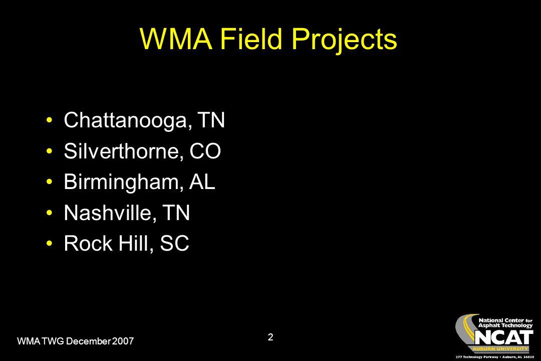 WMA TWG December 2007 2 WMA Field Projects Chattanooga, TN Silverthorne, CO Birmingham, AL Nashville, TN Rock Hill, SC