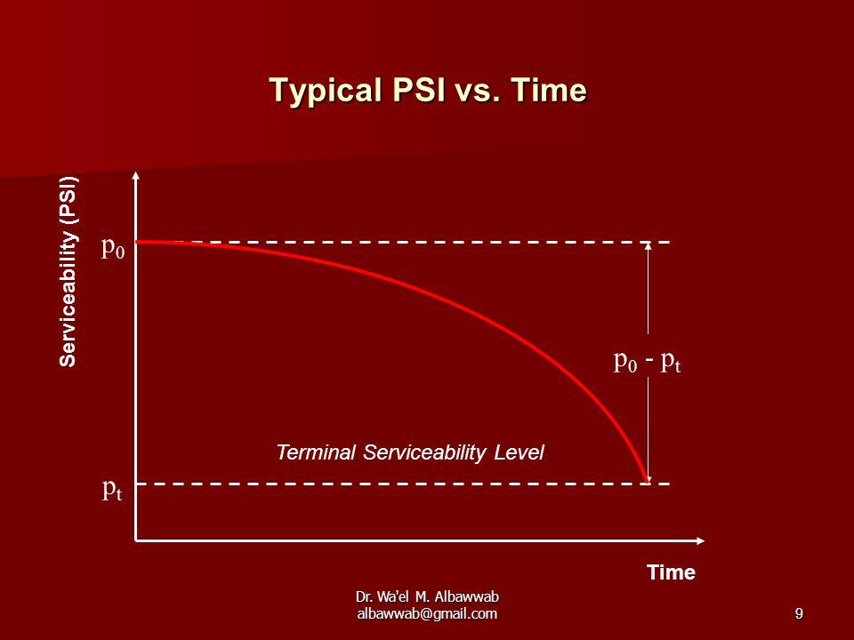 Dr. Wa'el M. Albawwab albawwab@gmail.com9 Typical PSI vs. Time Time Serviceability (PSI) p0p0 ptpt p 0 - p t Terminal Serviceability Level