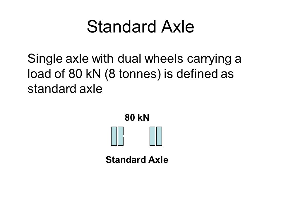 Standard Axle Single axle with dual wheels carrying a load of 80 kN (8 tonnes) is defined as standard axle 80 kN Standard Axle