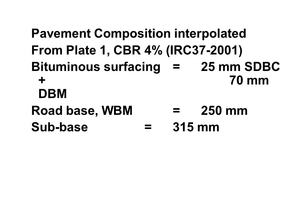 Pavement Composition interpolated From Plate 1, CBR 4% (IRC37-2001) Bituminous surfacing=25 mm SDBC + 70 mm DBM Road base, WBM=250 mm Sub-base=315 mm