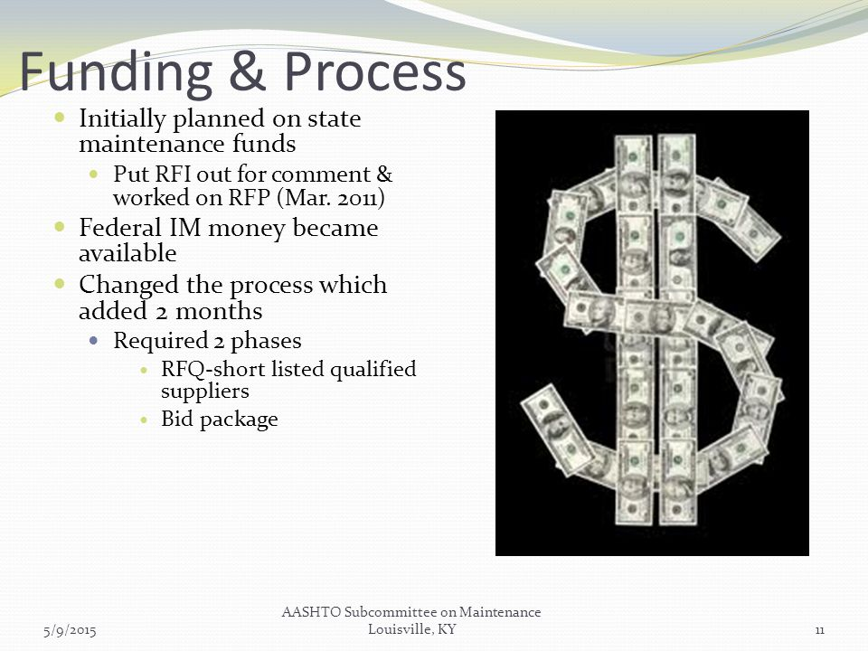 Funding & Process Initially planned on state maintenance funds Put RFI out for comment & worked on RFP (Mar.