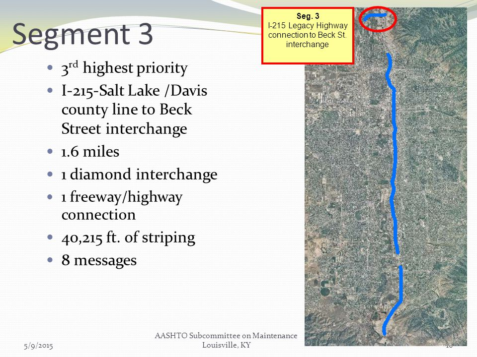 Segment 3 3 rd highest priority I-215-Salt Lake /Davis county line to Beck Street interchange 1.6 miles 1 diamond interchange 1 freeway/highway connection 40,215 ft.