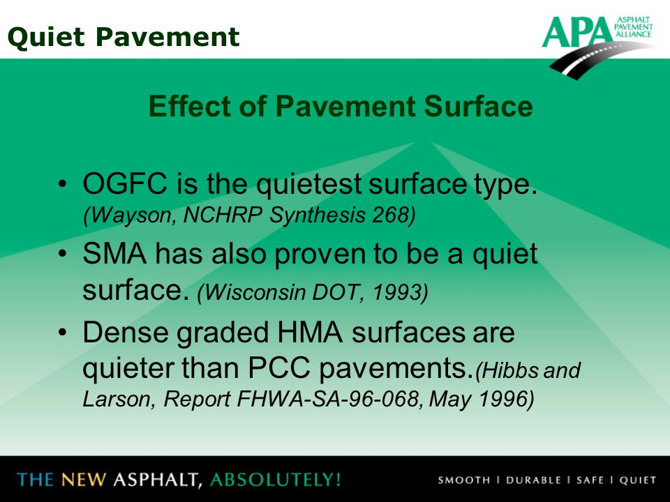 Quiet Pavement Open-graded asphalt surfaces are up to 10 dB(A) quieter than transversely tined PCC pavements.