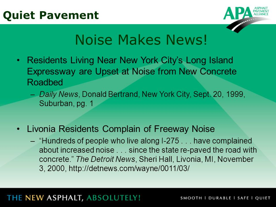 Quiet Pavement Noise Makes News.