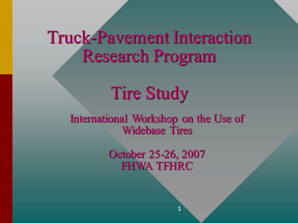Federal Highway Administration Truck Pavement Interaction 2 Phase IDynamic Effects Phase IIPressure/Footprint/ANN Phase IIIHot Weather Shear Phase IVAccelerated Loading TTA C.4 Tire/Pavement Effects