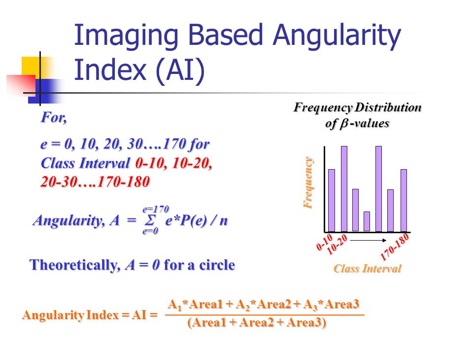 Angularity Index = AI = A 1 *Area1 + A 2 *Area2 + A 3 *Area3 (Area1 + Area2 + Area3) Theoretically, A = 0 for a circle For, e = 0, 10, 20, 30….170 for Class Interval 0-10, 10-20, 20-30….170-180 Angularity, A =  e*P(e) / n e=0e=170 Frequency Distribution of  -values 0-10 170-180 10-20 Class Interval Frequency Imaging Based Angularity Index (AI)