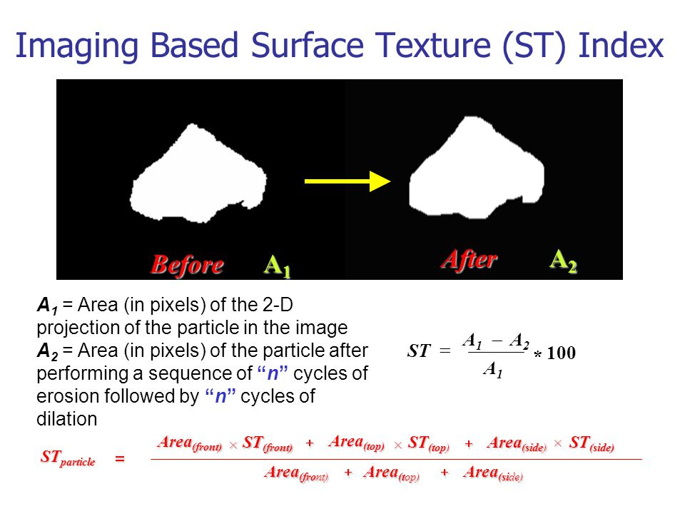 Imaging Based Surface Texture (ST) Index 100 * A1A1 ST   A1A1 A2A2 ST particle  Area (front)  Area (top) Area (side)  ST (front) ST (top) ST (side) Area (front)  Area (top) Area (side)  × × × A 1 = Area (in pixels) of the 2-D projection of the particle in the image A 2 = Area (in pixels) of the particle after performing a sequence of n cycles of erosion followed by n cycles of dilation A1A1A1A1 A2A2A2A2 Before After