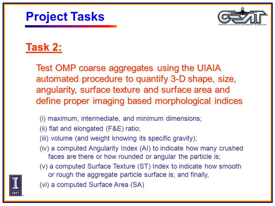 Project Tasks Task 2: Test OMP coarse aggregates using the UIAIA automated procedure to quantify 3-D shape, size, angularity, surface texture and surface area and define proper imaging based morphological indices (i) maximum, intermediate, and minimum dimensions; (ii) flat and elongated (F&E) ratio; (iii) volume (and weight knowing its specific gravity); (iv) a computed Angularity Index (AI) to indicate how many crushed faces are there or how rounded or angular the particle is; (v) a computed Surface Texture (ST) Index to indicate how smooth or rough the aggregate particle surface is; and finally, (vi) a computed Surface Area (SA)