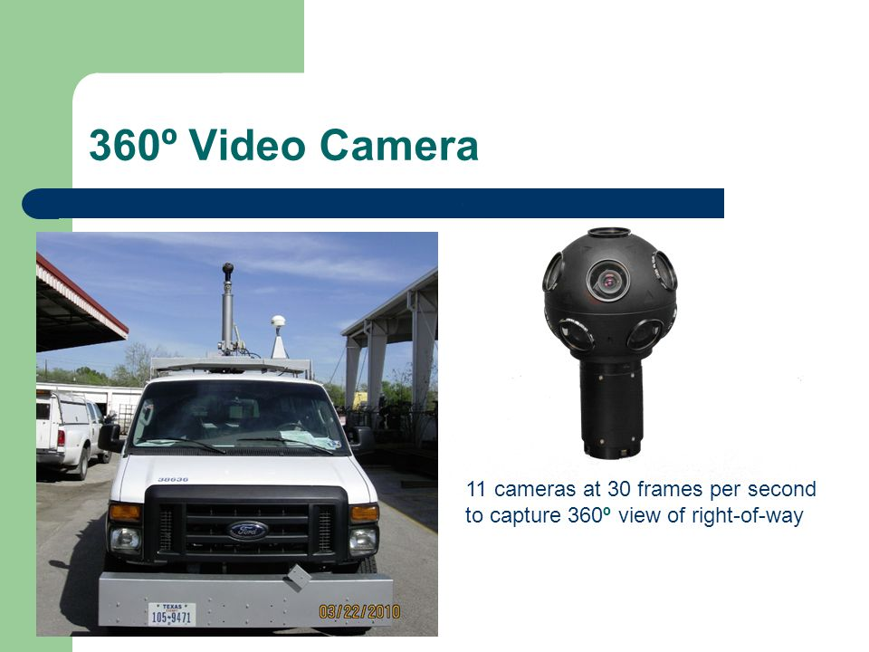 360º Video Camera 11 cameras at 30 frames per second to capture 360º view of right-of-way