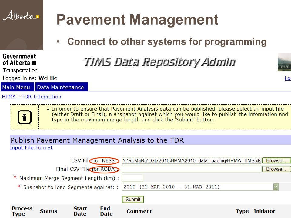 Pavement Management Connect to other systems for programming 22