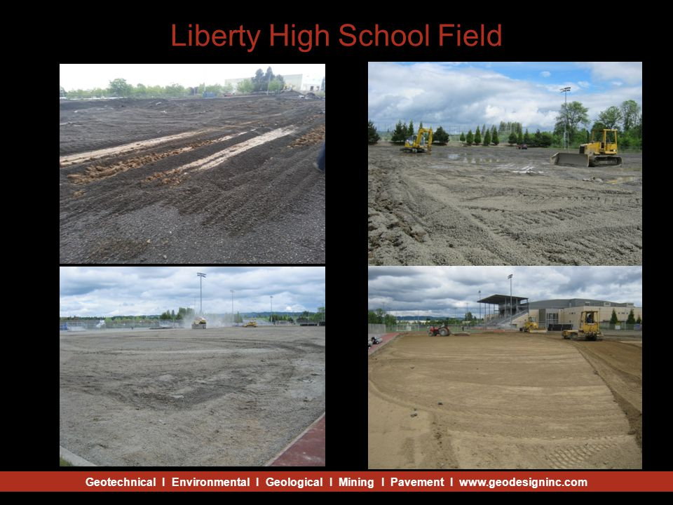 Geotechnical I Environmental I Geological I Mining I Pavement I www.geodesigninc.com Liberty High School Field