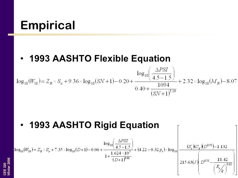 CEE 320 Winter 2006 Empirical 1993 AASHTO Flexible Equation 1993 AASHTO Rigid Equation