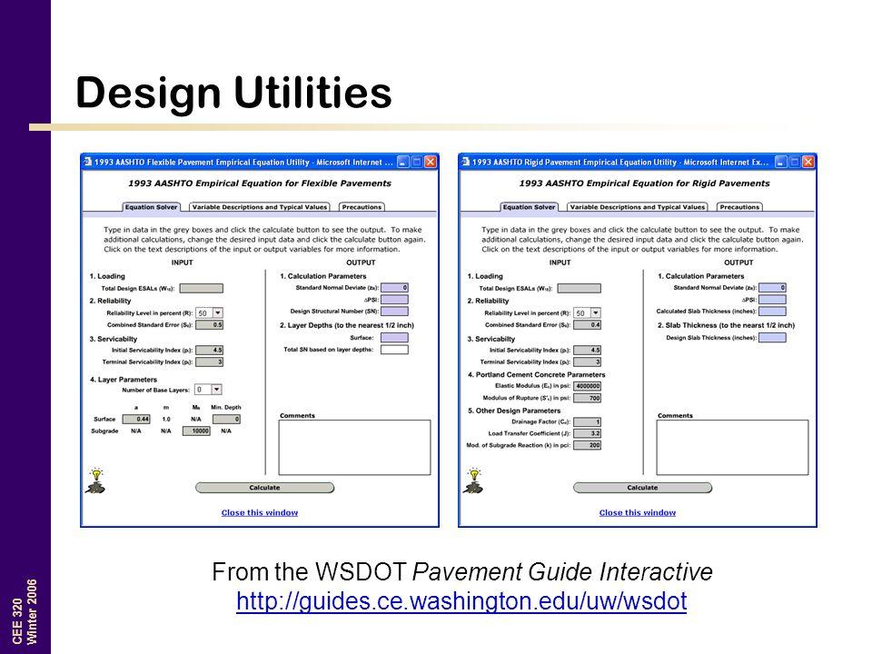 CEE 320 Winter 2006 Design Utilities From the WSDOT Pavement Guide Interactive http://guides.ce.washington.edu/uw/wsdot