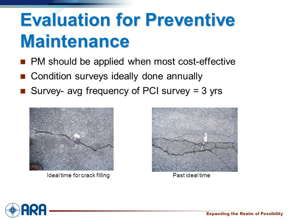 a Expanding the Realm of Possibility Evaluation for Preventive Maintenance PM should be applied when most cost-effective Condition surveys ideally done annually Survey- avg frequency of PCI survey = 3 yrs Ideal time for crack filling Past ideal time
